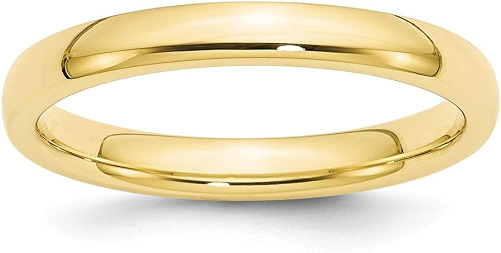 Solid 10k Yellow Gold 3mm Standard Comfort Fit Wedding Band