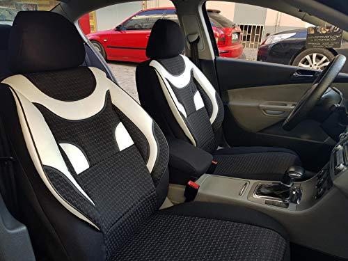 Sitzbezüge k-maniac für Audi A8 D2 | Universal schwarz-Weiss | Autositzbezüge Set Komplett | Autozubehör Innenraum | NO2020437 | Kfz Tuning | Sitzbezug | Sitzschoner