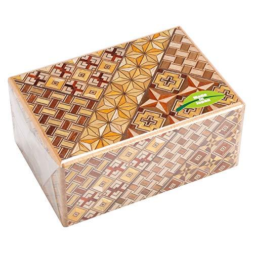 箱根寄木細工 秘密箱 パーツのスライドで開く立体パズル 箱根伝統工芸品 (4寸7回)