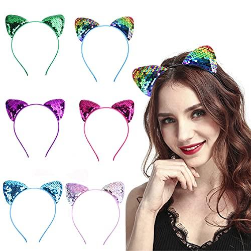 6 diademas de orejas de gato, diademas de lentejuelas, reversibles, con lentejuelas, brillantes, accesorios para el cabello, para mujeres y niñas, decoración de fiestas (color al azar)