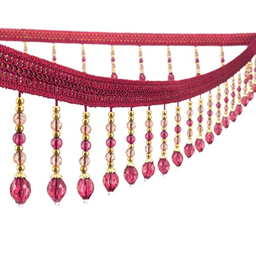 Yalulu 4 Yards Braided Hanging Beads Tassel Trim Fringe Fabric Ribbon Trimming Handwork DIY Craft Sewing Accessory Lace for Home Curtain Table Decoration (Wine Red)