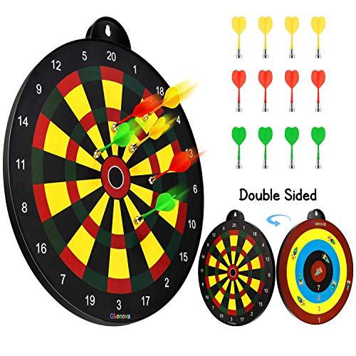 Glonova Magicfly Doppelseitiges Magnetisches Dartspiel Dartscheibe Durchmesser 41cm mit 12 Dartpfeile für Kinder ab 4 Jahren