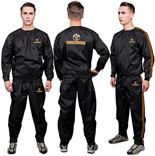 FIGHTSENSE MMA Sauna Sweat Suit Non Rip Track Weight Loss Slimming Fitness Gym Exercise Training (Orange, 3XL)