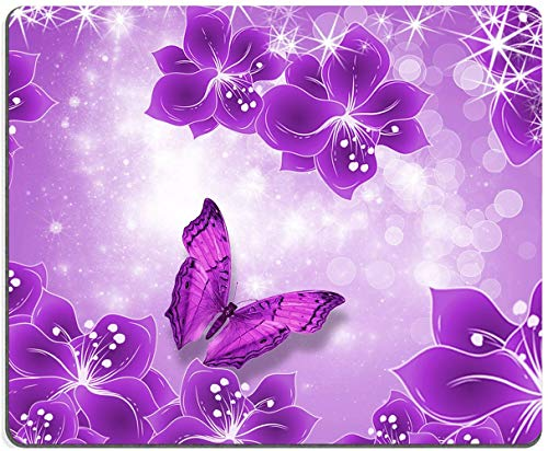 """Mouse Pad, Purple Butterflies and Flowers Mouse Pad, Girl Mouse Pad, Gaming Mouse Mat, Square Waterproof Mouse Pad Non-Slip Rubber Base MousePads for Office Home Laptop Travel, 9.5""""x7.9""""x0.12"""" Inch"""