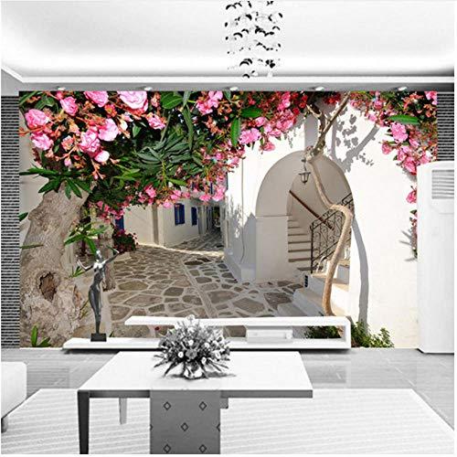 『壁の壁画 3D地中海風ストリートタウン都市景観壁壁画壁紙リビングルームテレビソファ背景壁の装飾-280X200CM』の2枚目の画像
