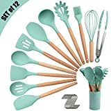 Silicone Kitchen Utensil Set, Cooking Spatulas Soup Ladle Slotted Spoon Turner Pasta Server Basting...