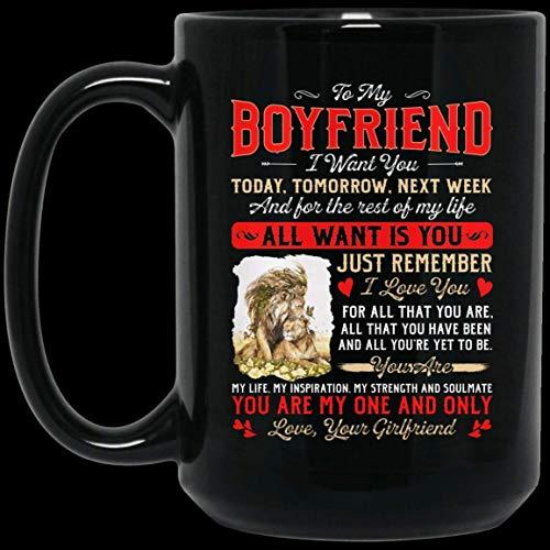 Cadeau voor Kerstmis - Valentijnsdag 11oz aan mijn vriend I Want You Vandaag Morgen Volgende Week Leeuw Keramische Koffiemok