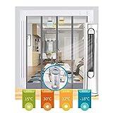 Tenda per Porta Termica GDMING Magnetico Robusto Trasparente PVC Pannelli per Tende A Prova di Vento Riduzione del Rumore Mantieni La Bozza Inverno Porte della Tempesta,49 Taglie