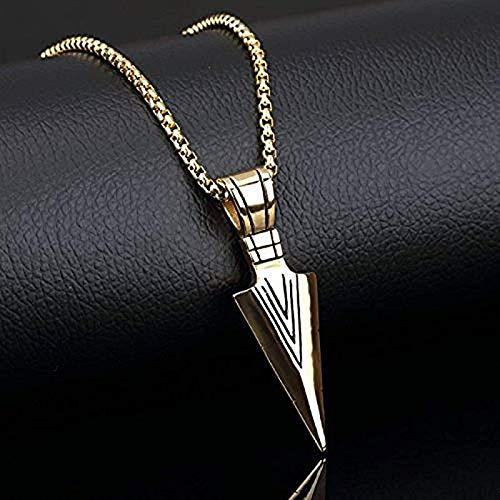 Oaisij Collar con Colgante de Flecha de Punta de Lanza de joyería de Acero Inoxidable para Hombres