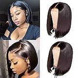 TOOCCI Bob Wig Human Hair for Black Women,Short Bob Brazilian Hair 10A Wigs, 4x4 Lace Closure Wig Straight Human Hair Glueless Middle Part Bob Wigs with Baby Hair 150% Density (10inch)