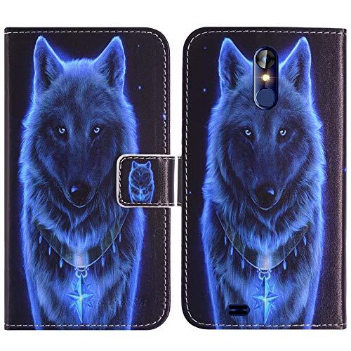 TienJueShi Loup Support à Rabat Magnétique Coque Étui Couverture Protecteur Téléphone Housse pour Logicom Le Hop 6.18 inch Case Cover Cas Cuir