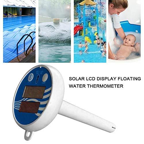 Termómetro de piscina Termómetro analógico de piscina con pantalla LCD Termómetro de piscina grande Carga solar Termómetro electrónico de agua...