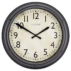 La Crosse Clock 404-2630 12 Inch Hudson Analog Quartz Grey Plastic