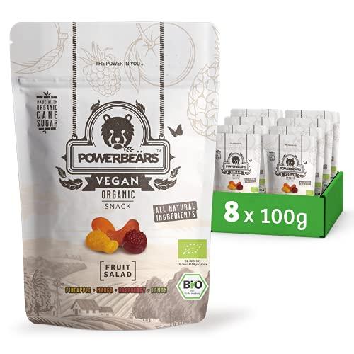 POWERBEÄRS Vegan Bio Fruchtsalat 8 x 100 g - in Bio-Qualität mit Ananas-, Mango-, Himbeer- und Zitronengeschmack