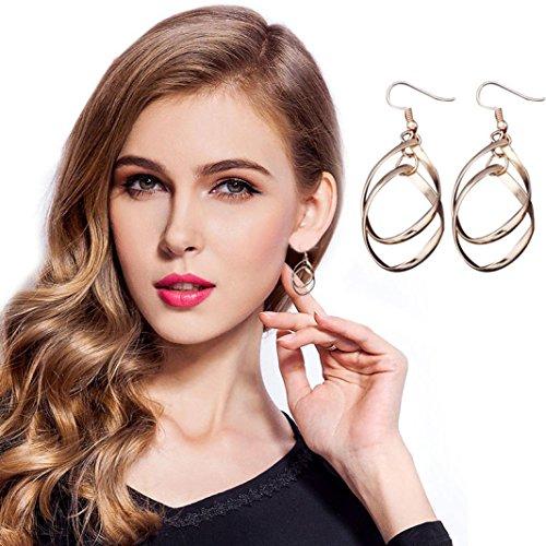 minshao Stud Chapado En aleación de moda las mujeres Dangle Pendientes eardrop oro,