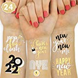 ✨Happy New Year! Our NYE tattoos are the sparkly decor you've been looking for + a guaranteed hit! ✨Holiday Tattoos For The Whole Party: two sheets with a total of 24 black + metallic tattoos featuring hand drawn designs that guests will love! Saying...