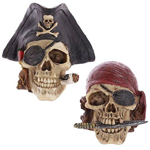 Dochsa Puckator - Decorazione a forma di teschio pirata con 2 motivi, misti, altezza 8-12 cm, profondità 9-11 cm