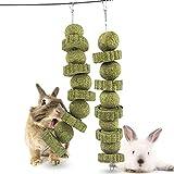 Ewolee Juguetes de conejo, 2 piezas de juguetes para masticar hámster, accesorios de pasto natural y bola de hierba, juguete para moler dientes para conejo, hámster, cobaya, chinchillas, gerbos, ratas