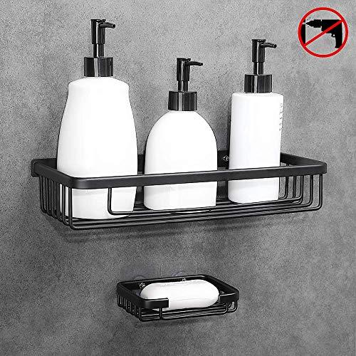 Hoomtaook Duschkorb Duschregal Ohne Bohren Space Aluminium Duschregal Kein Bohren Gib eine Seifenkiste 1 Etagen Schwarz