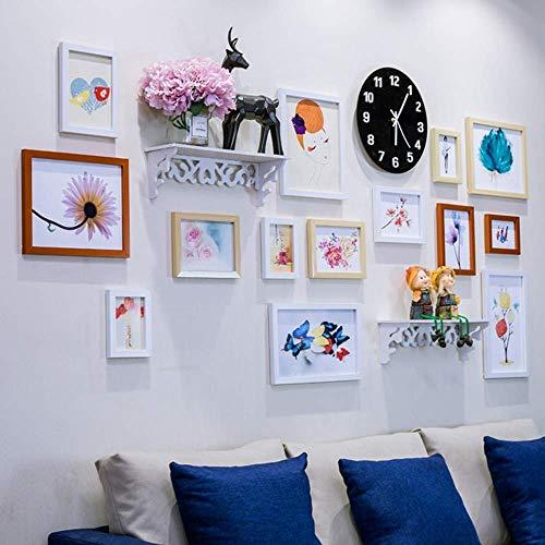 Fotolijst voor moderne collageen in minimalistische stijl met wandplank, wandklok, wandklok en hardware om op te hangen, meerkleurig, 14 stuks