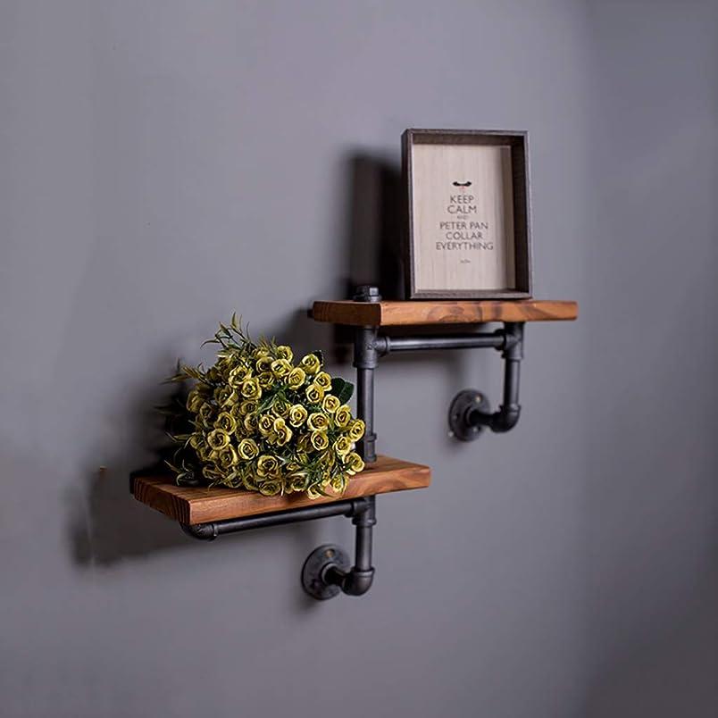 繁雑徹底的にワーカー2段工業用パイプ棚レトロフローティング棚素朴な木製可鍛鉄パイプ壁掛けラック収納オーガナイザー黒壁の装飾ヘビーデューティパンクスタイル