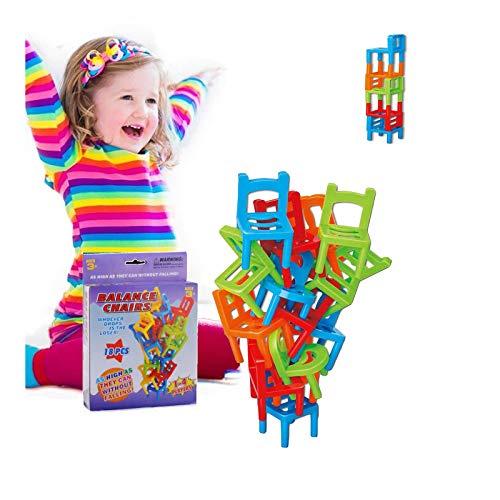 Qianpuren 1/2 Juego de sillas apilables, Juego de Equilibrio de la Torre, Juegos de suspensión Familiar para niños Mayores de 3 años y Regalo para Adultos (1)