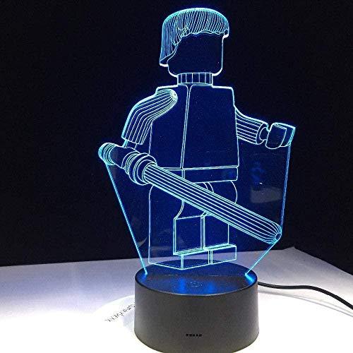 3D luz de la noche de dibujos animados robot 3D LED lámpara de mesa para oficina hotel dormitorio bar sensor táctil luz de noche para niño volver a la escuela regalo ll