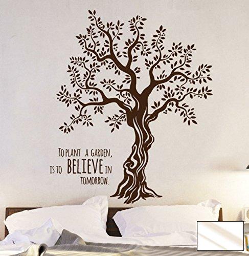 Wandtattoo Wandaufkleber Baum Olivenbaum mit Spruch M1567 - ausgewählte Farbe: *Milchglas* - ausgewählte Größe: XL - 120cm breit x 150cm hoch
