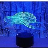 Luz de noche LED 3D Tortuga de tortuga marina con luz de 7 colores para lámpara de decoración del hogar Visualización increíble Ilusión óptica