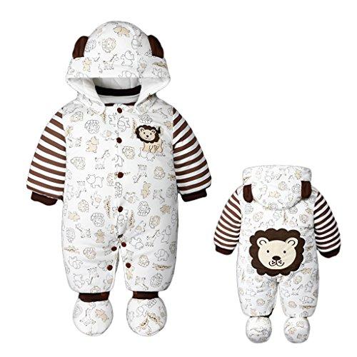 Baby Overall Strampler Winterjacke Mäntel Onesie Unisex Baby Strampelanzug mit Kapuze 0-12 Monate Vine
