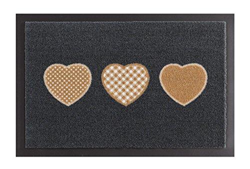 Hanse Home Fußmatte Schmutzfangmatte Herzen Grau Braun, 40x60 cm