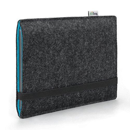 stilbag e-Reader Hülle Finn für Tolino Vision 4 HD | Wollfilz anthrazit/Azur | Schutzhülle Made in Germany