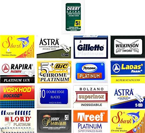 100 Qualität Double Edge Rasierklingen Sampler (17 verschiedene Marken: Astra, Wilkinson, Derby, Personna, Voskhod, Shark)