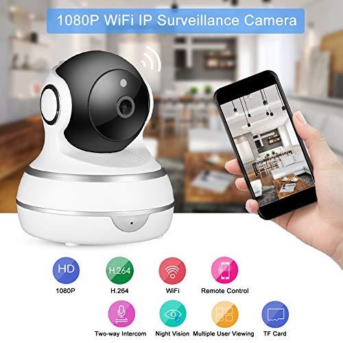 1080P 360 ° WiFi-babyfoon IP-audiocamera met dichtbij zicht, bewaking op afstand, bewegingsdetectiebewakingscamera voor babyhuisdier (EU-stekker)