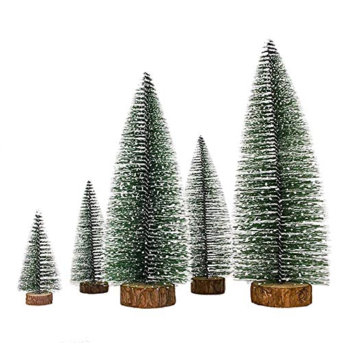 XONOR 5 Stück künstliche Weihnachten Sisal Schnee Frost Bäume mit LED Fairy String Licht, Flaschenbürste Bäume Kunststoff Winter Schnee Ornamente Tischplatte Bäume für Weihnachtsfeier Dekoration