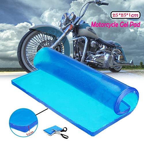 Lisyline Motorcycle Seat Gel Pad Shock Absorption Mats Reduce Fatigue Comfortable Soft Cooling Fabric Cushion Blue Cool DIY Saddle (25 x 25 x 1cm)