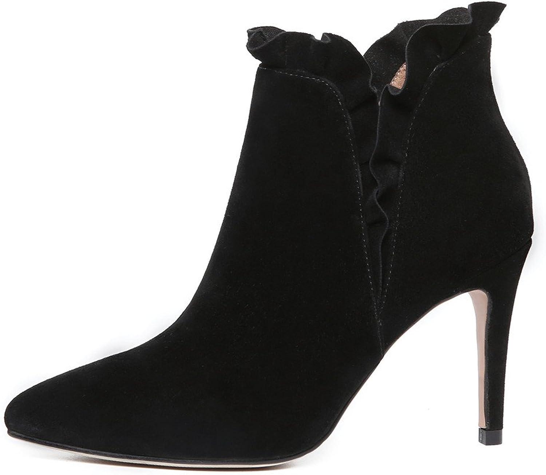 Nio mocka läder Woherrar Pointy Toe Stiletto Heel Heel Heel Elegant Handgjort Trendy Ankle stövlar  grossistaffär