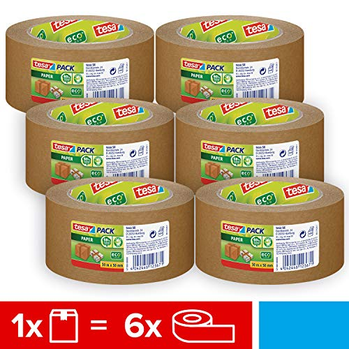 tesapack® Paper ecoLogo im 6er Pack - Umweltgerechtes Paketband aus Papier, 60 % biobasiertes Material - Braun - 6 Rollen je 50 m