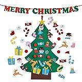 CJCX Árbol de Navidad del Fieltro de los 3.2FT DIY Fijó + los Ornamentos Desmontables 26 Pcs +1 Pcs Banner de Merry Christmas, Regalos Colgantes de Navidad de la Pared para Las Decoraciones