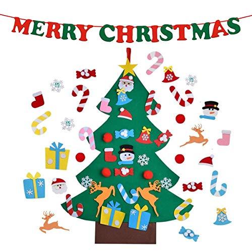 Scopri offerta per CJCX Feltro Albero Natale 3.2ft della Feltolta di DIY con 26 PCS Ornamenti Staccabili + 1 Banner con Merry Christmas Bambini Regali di Natale Decorazioni Natalizie