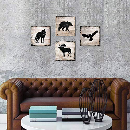 Woodland Animals Nursery Decor Wildlife Wall Art Mural/Sticker Print Eagle Elk Wolf Bear Animal Silhouette Painting Picture Artwork For Living Room Bedroom Home Decoration Ready To Hang 4 Pcs