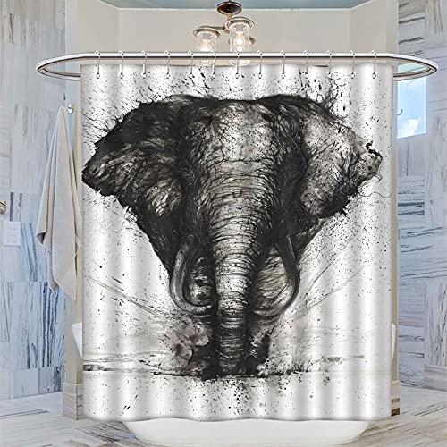 Cortina de ducha de tela impermeable con diseño de elefante animal para bañeras, duchas, puestos y bañeras de 183 x 183 cm