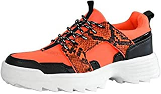LUCKY-STEP Women Fashion Sneakers Slip On Leather Lace Up Athletic Walking Shoes