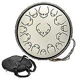 Tambor de lengua de acero de 14 pulgadas de mano Pan percusión tambor etéreo 15 Tunes Set de instrumentos con bolsa de transporte de tambor, 2 baquetas de batería, libro tutorial (blanco)