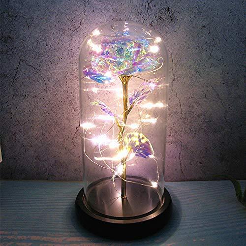 ZoneYan Galaxy Rosa en Glass Dome, Clavel Eterna con Luces Led, Rosa Eterna En Cúpula De Cristal, Claveles Eterna Regalos para Día de Madre, Día del Maestro, Fiesta de Cumpleaños, Aniversario