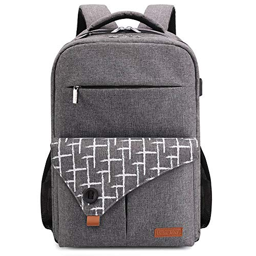 Lekesky Laptop Rucksack Business Notebook Rucksack 15,6 Zoll Laptoprucksack mit Laptopfach und Anti Diebstahl Tasche, Grau