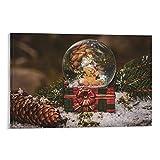 DRAGON VINES Póster de bola de cristal de Navidad con diseño de oso de orejas B. Lienzo impreso para pared para sala de estar, oficina en casa, 60 x 90 cm