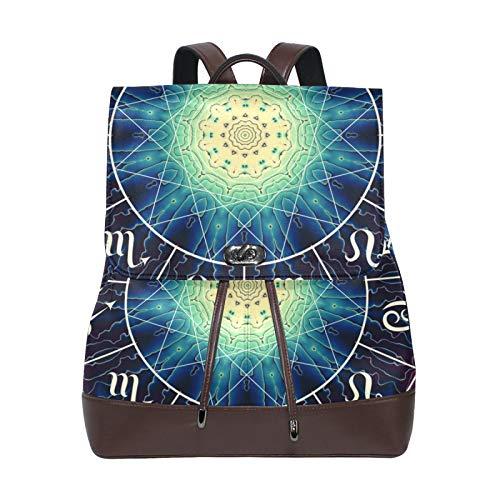 Ahomy Damen Leder-Rucksack Indien Mandala Sternbild Wasserdicht Anti-Diebstahl Mode Schulrucksack Casual Daypacks