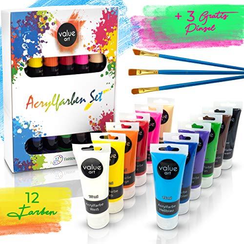 Value Art Acryl Farben Set [12x 75ml] Acrylfarben - Inklusive 3 Pinsel – Wasserfeste Acrylfarbe für Leinwand, Holz, Papier und Stein - Acrylfarben Set für Kinder & Erwachsene