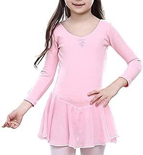 Girl Dance Ballet Leotard Dresses Kids Girl Cotton Long Sleeves Tutu Skirt